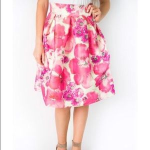 NWOT Cents of Style Floral High Waist A-Line Skirt